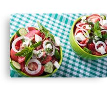 Top view of two bowls useful vegetarian meal closeup Canvas Print