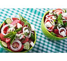 Top view of two bowls useful vegetarian meal closeup Photographic Print