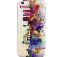 Lisbon skyline in watercolor background iPhone Case/Skin