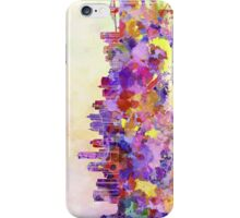 New York skyline in watercolor background iPhone Case/Skin