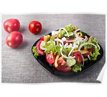 Small bowl of salad made from natural raw vegetables Poster