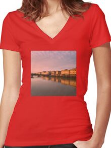Sunset in Florence Women's Fitted V-Neck T-Shirt