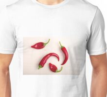 Top view of hot chili peppers Unisex T-Shirt