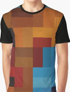 Abstraction #073 Blue and Gold Blocks Graphic T-Shirt