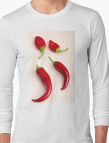 Top view of hot chili peppers Long Sleeve T-Shirt