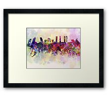 Madrid skyline in watercolor background Framed Print