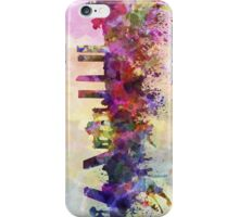 Madrid skyline in watercolor background iPhone Case/Skin