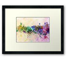 Abu Dhabi skyline in watercolor background Framed Print