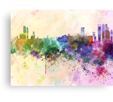 Abu Dhabi skyline in watercolor background Canvas Print