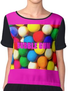 Bubble Gum with text Chiffon Top
