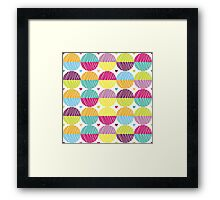 Retro,polka dots,big,cool,pattern,red,hot pink,yellow,orange,green,lime,purple Framed Print