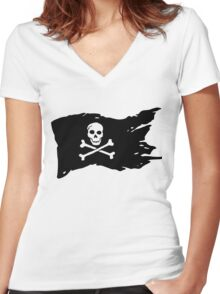 Pirates Flag Women's Fitted V-Neck T-Shirt