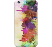 Hong Kong skyline in watercolor background iPhone Case/Skin