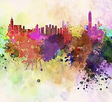 Hong Kong skyline in watercolor background by paulrommer