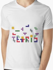 Tetris Style Mens V-Neck T-Shirt