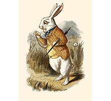 The white Rabbit watch time Photographic Print
