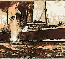 A digital painting of  R.M.S. Lusitania, hit by torpedos off Kinsale Head, Ireland 1915 by Dennis Melling