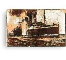 A digital painting of  R.M.S. Lusitania, hit by torpedos off Kinsale Head, Ireland 1915 Canvas Print