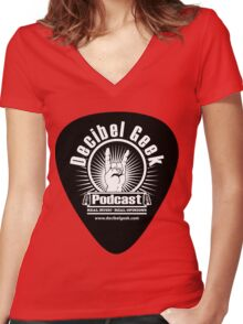 Decibel Geek Guitar Pick! Women's Fitted V-Neck T-Shirt