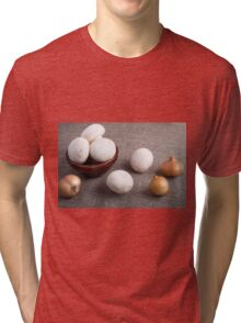 Raw champignon mushrooms and onions Tri-blend T-Shirt