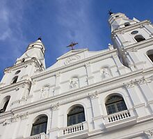 Front of a white church in Porto Alegre city - Brazil. by trarbach