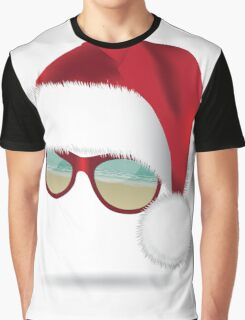 Santa hat with tropical beach sunglasses. Graphic T-Shirt