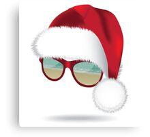 Santa hat with tropical beach sunglasses. Canvas Print