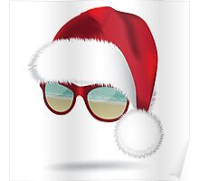 Santa hat with tropical beach sunglasses. Poster
