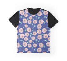 Seamless Blue Floral Pattern Graphic T-Shirt