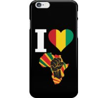 I Love Africa Map Black Power Guinea Conakry Flag T-Shirt iPhone Case/Skin