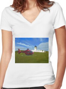 Fair Isle North Lighthouse Women's Fitted V-Neck T-Shirt