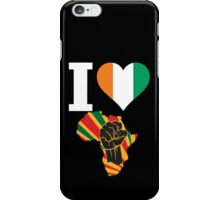 I Love Africa Map Black Power Ivory Coast Flag T-Shirt iPhone Case/Skin