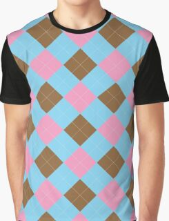 Blue, brown and pink argyle pattern Graphic T-Shirt