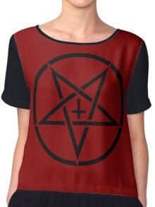 Pentagram with Upside Down Cross Chiffon Top