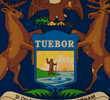 Michigan State Flag VINTAGE Sticker