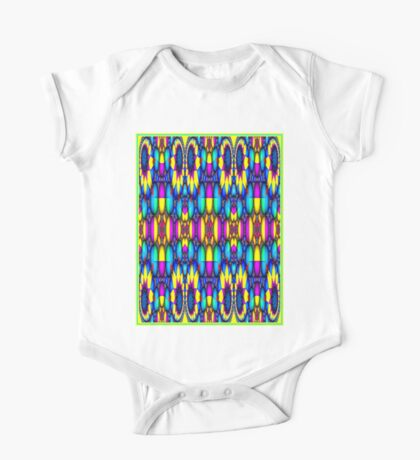 """STAINED GLASS ABSTRACT PSYCHEDELIC"" Whimsical Art Print One Piece - Short Sleeve"