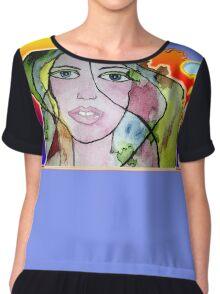 Watercolored Girl Chiffon Top