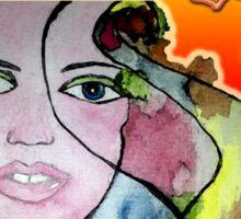 Watercolored Girl Sticker