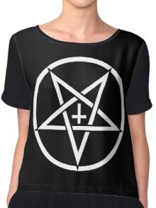 Pentagram with Upside Down Cross Chiffon Top