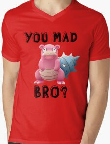 Slowbro - You Mad Bro? (Black Type) Mens V-Neck T-Shirt