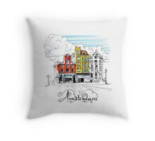 Amsterdam typical houses, Holland, Netherlands Throw Pillow