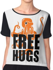 FREE HUGS Funny Humor PEACE AND LOVE Big Bold Hippie TRENDY PARTY Chiffon Top
