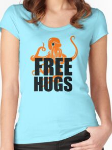 FREE HUGS Funny Humor PEACE AND LOVE Big Bold Hippie TRENDY PARTY Women's Fitted Scoop T-Shirt