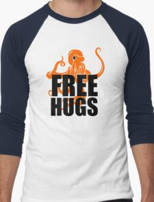 FREE HUGS Funny Humor PEACE AND LOVE Big Bold Hippie TRENDY PARTY Men's Baseball ¾ T-Shirt