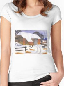 Barn in Snow Women's Fitted Scoop T-Shirt