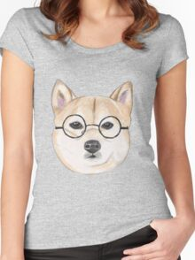 Shiba Inu With Round Glasses Women's Fitted Scoop T-Shirt