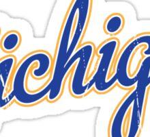 Michigan Script VINTAGE Blue Sticker