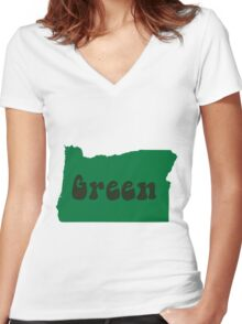 Oregon Green - Hippie Women's Fitted V-Neck T-Shirt
