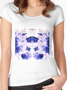 Summer Blooms Mirrored and Inverted Women's Fitted Scoop T-Shirt