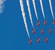 Diamond Nine Roll - The Red Arrows !! - Farnborough 2014 by Colin  Williams Photography